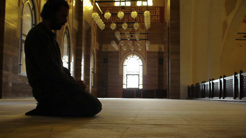 namaz: muslim worship in mosque Stock Video Footage