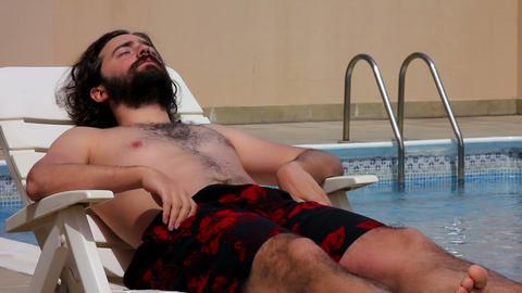 man swim in swimming pool Footage