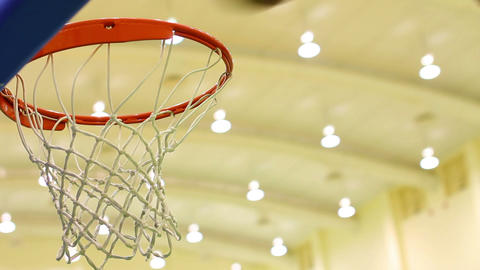 scoring basket in basketball court Stock Video Footage