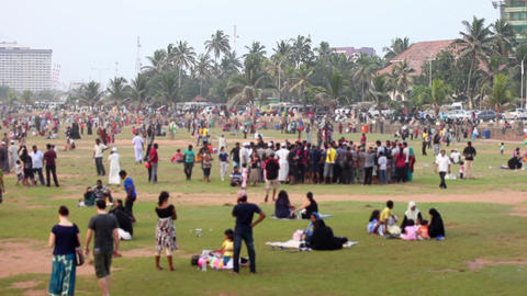 thousands of people at beach Stock Video Footage