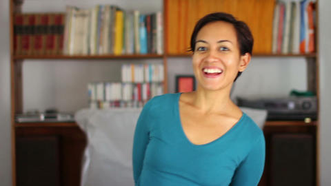 cheerful young woman at home Stock Video Footage