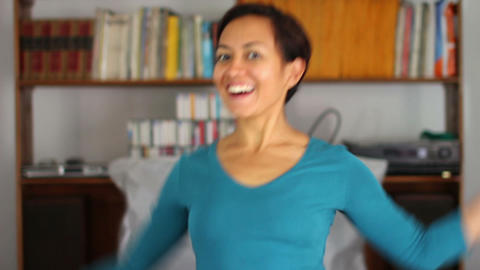 cheerful young woman at home Footage