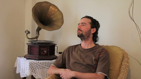 listening old gramophone at home Stock Video Footage
