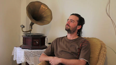 listening old gramophone at home Footage