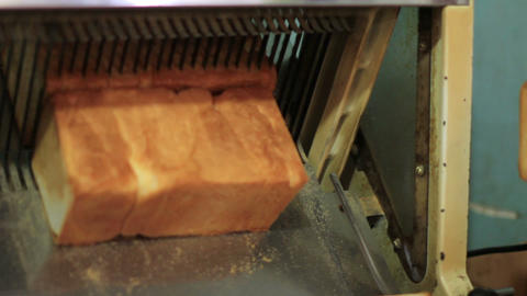 bread machine cutting into slices Footage