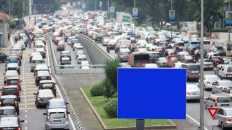 empty billboard in traffic jam Stock Video Footage