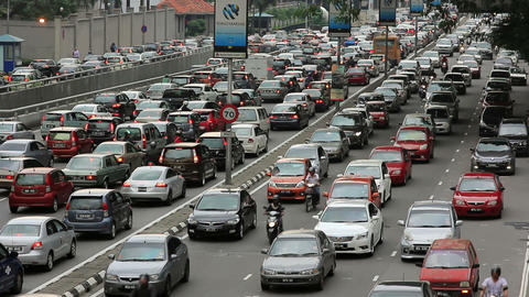 KUALA LUMPUR - MARCH 2012: traffic jam in city center Footage