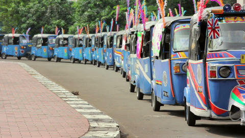 colorful tuktuk in indonesia Stock Video Footage