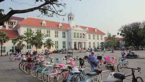 bicycle rental in kota, jakarta Stock Video Footage