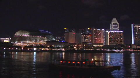 The Esplanade and Marina Bay at Night, Singapore Footage