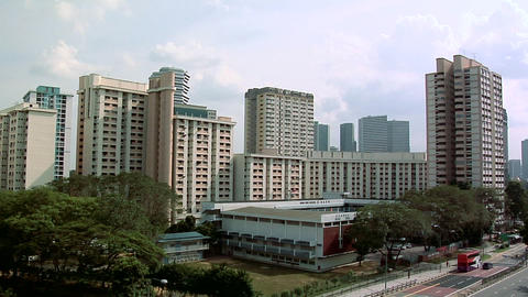 High Rising Apartment Blocks at Victoria Street North Singapore Live Action