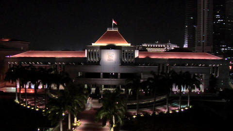 The Parliament House at Night, Singapore Footage