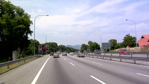 POV on Malaysian Highway from Singapore to Kuala Lumpur Live Action