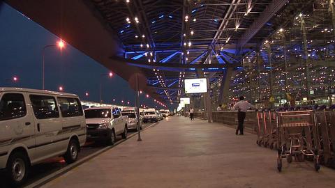 The Departure Level Ramp at Night at New Suvarnabhumi International Airport Live Action