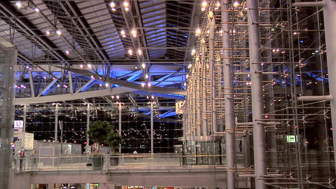 The Departure Level at Night at New Suvarnabhumi International Airport Live Action