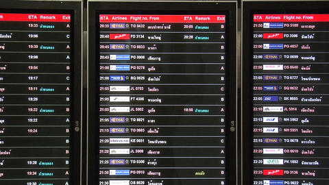 The Arrival Board at the New Suvarnabhumi International Airport Live Action