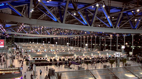 Check-in Counters at Night at the New Suvarnabhumi International Airport Live Action