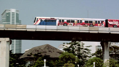 The Skytrain near the Sala Daeng Station, Bangkok Live Action