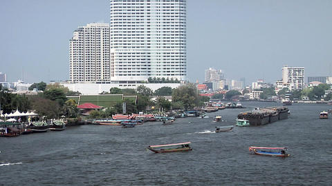 Riverboat Traffic on Chao Phraya River, Bangkok Live Action