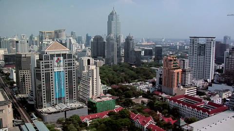 Elevated View of Ploenchit and Sukhumvit District. Bangkok Live Action