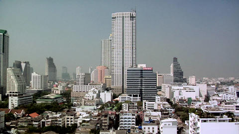 Elevated View of Bangrak District towards the River. Bangkok Live Action