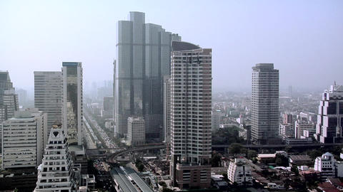 Elevated View of Sathon District, Bangkok Live Action