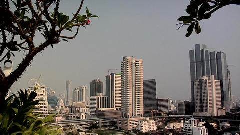 Elevated View of Sathon District late Afternoon, Bangkok Footage