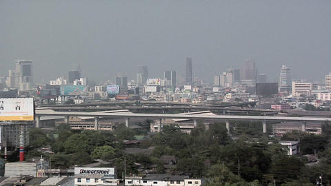 Elevated View looking towards Ploenchit and Siam District, Bangkok Live Action
