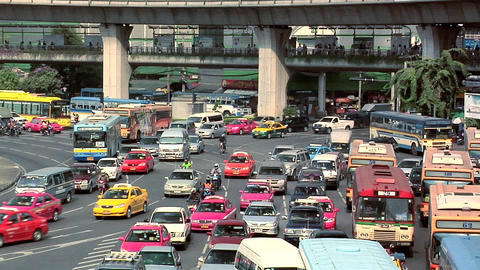 Afternoon Traffic at Victory Monument, Bangkok Live Action