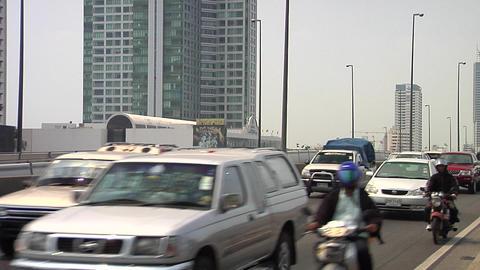 Traffic across Saphan Taksin Bridge, Bangkok Footage