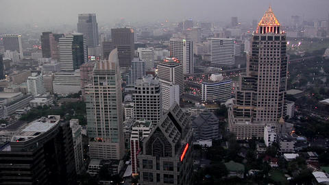 Elevated View of the CBD with Buildings of Silom District at Night Fall Live Action