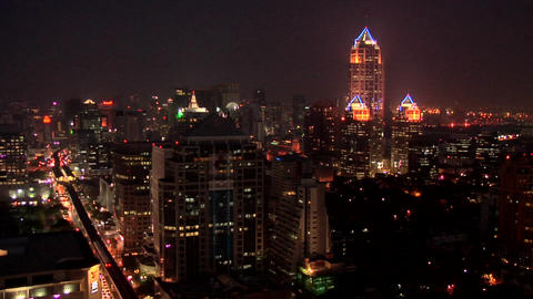 Elevated View of the CBD with Buildings of Bangrak District at Night Fall Live Action