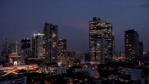 Elevated View at Night of Sathon and CBD District, Bangkok Live Action
