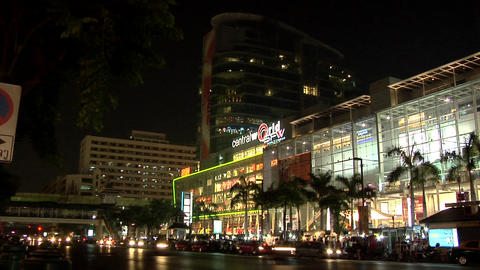 Night View of Central World on Ratchadamri Road, Bangkok Footage