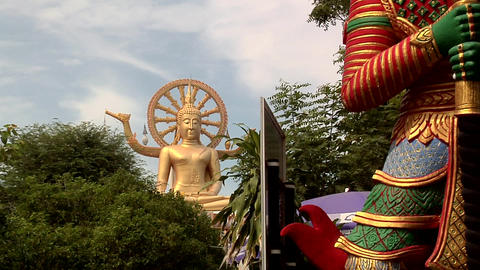 The Big Buddha At Wat Phra Yai In Thambon Bo, Koh Samui stock footage