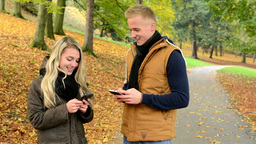 young model couple in love - autumn park(nature) - couple (man and woman) relax  Footage