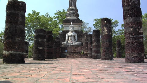 Buddha Statues at the Ruins in the Historical Park of old Sukhothai Footage
