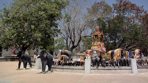 God with 4 Faces surrounded by Elephant Guards at the Southern Tip of Phuket Footage