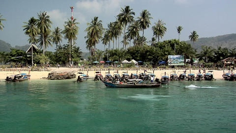 Long Tail Boats on Ao Loh Lam Beach Live Action