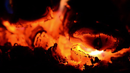 Playful flames that engulfed a woods put in the stove to warm the cold air in th Footage