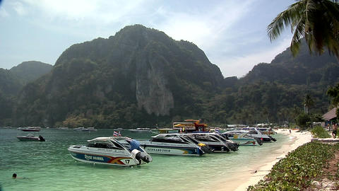 Motor Boats on Ao Loh Da Lam Beach Live Action