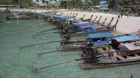 Long Tail Boats on Ao Loh Lam Beach Footage