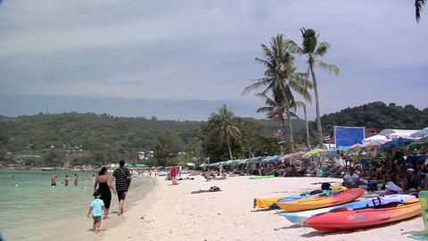 Tourists and Beach Chairs on Ao Ton Sai Beach Footage