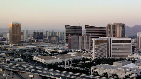 View of the Casino-Hotels of the Las Vegas Strip and the I-15 Freeway Live Action