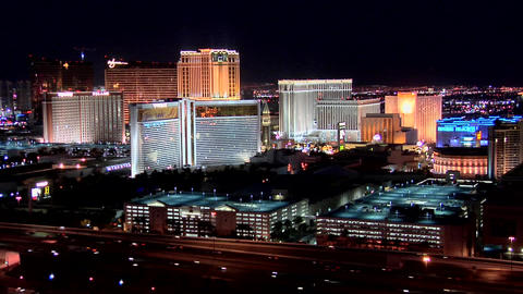 Casino Hotels of the Las Vegas Strip early evening Live Action