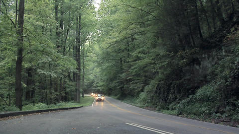 Light Traffic on the Blue Ridge Parkway, North Carolina Live Action