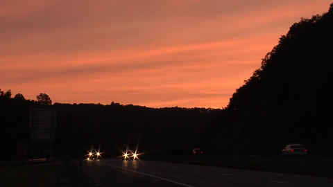 Sunset on the I-84 in Virginia Footage