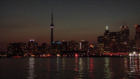 Skyline of Toronto after Sunset early Evening Live Action
