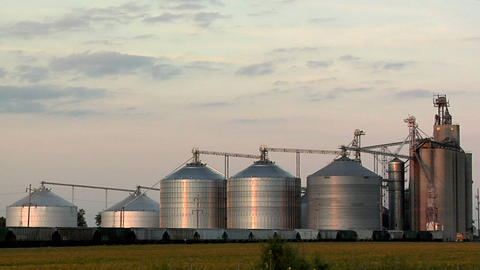 Grain Silos in Eureka early Evening, Illinois Footage
