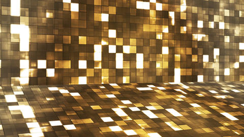Broadcast Firey Light Hi-Tech Squares Stage, Golden Brown, Abstract, Loopable, 4K Animation